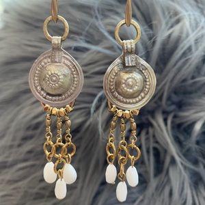Handmade Jade stone vintage tribal charm earrings